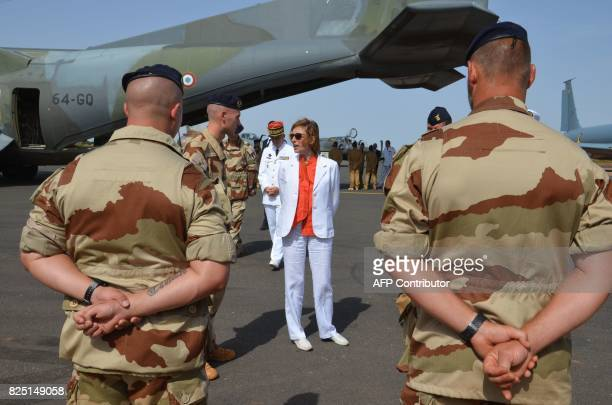 French Minister of Army Forces Florence Parly stands as she meets French officers of the Barkhane counterterrorism operation in Africa's Sahel region...