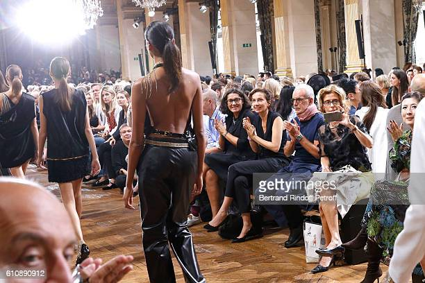 French Minister of Culture and Communication Audrey Azoulay and CEO of Puig Fashion Division and President of the French Federation of couture and...