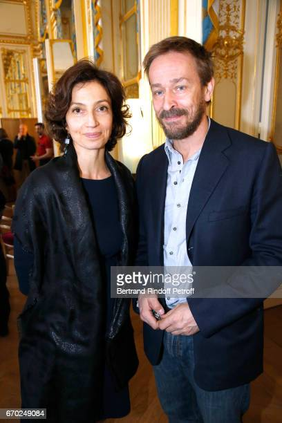 French Minister of Culture and Communication Audrey Azoulay and Administrator of the 'Comedie Francaise' Eric Ruf attend the 29th Molieres 2017...