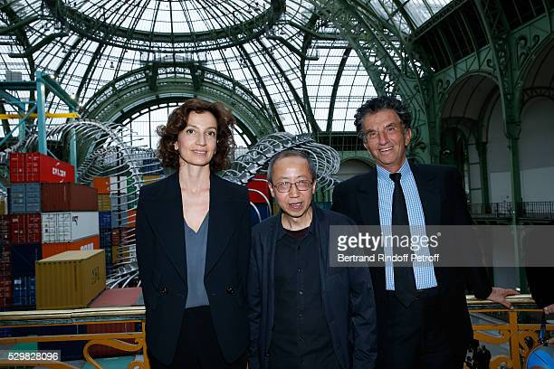 French Minister of Culture and Communication Audrey Azoulay Artist Huang Yong Ping and President of the 'Institut du Monde Arabe' Jack Lang attend...