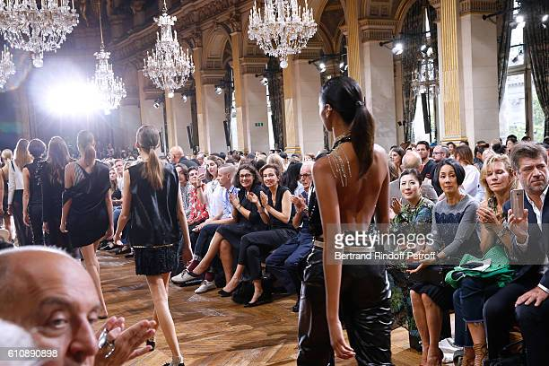 French Minister of Culture and Communication Audrey Azoulay attends the Lanvin show as part of the Paris Fashion Week Womenswear Spring/Summer 2017...