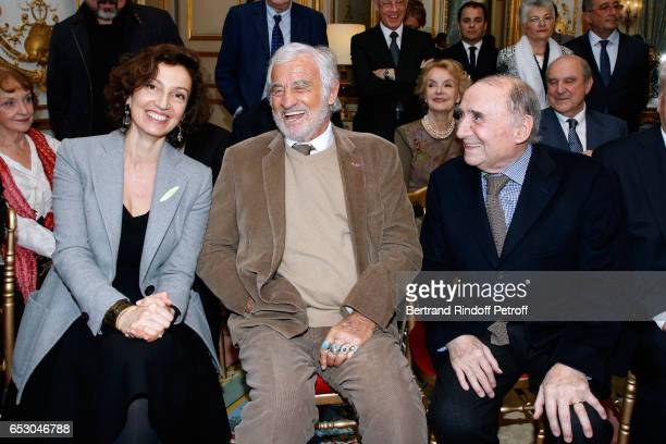 French Minister of Culture and Communication Audrey Azoulay JeanPaul Belmondo and Claude Brasseur attend Claude Brasseur is elevated to the rank of...