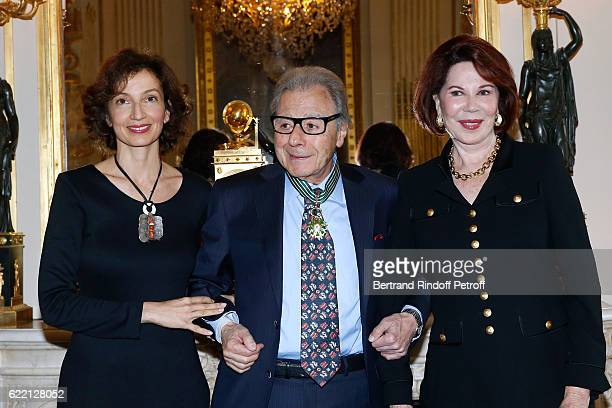 French Minister of Culture and Communication Audrey Azoulay Lalo Schifrin and his wife Donna attend Composer and pianist Lalo Schifrin receives the...