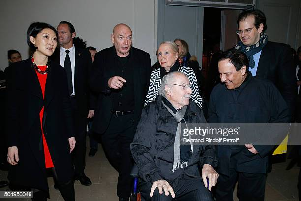 French minister of Culture and Communication Fleur Pellerin Architect Jean Nouvel Architect Claude Parent his wife Naad and Azzedine Alaia attend the...