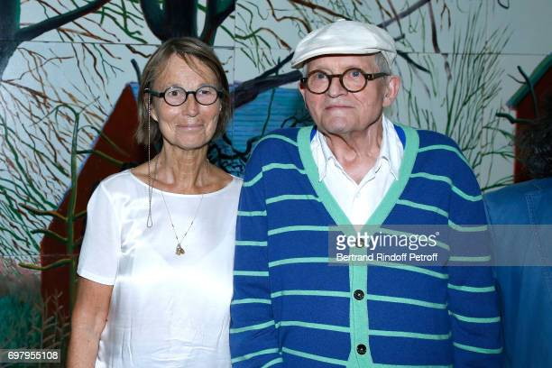 French Minister of Culture and Communication Francoise Nyssen and Painter David Hockney attend the David Hockney Retrospective Exhibition at Centre...