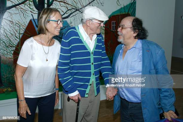 French Minister of Culture and Communication Francoise Nyssen Painter David Hockney and Actor JeanMichel Ribes attend the David Hockney Retrospective...