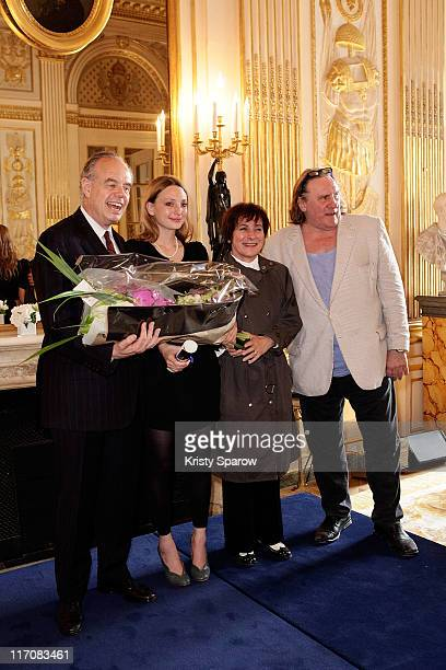 French minister of culture and communication Frederic Mitterrand Raphaele Lannadere MariePaule Belle and Gerard Depardieu attend the second annual...