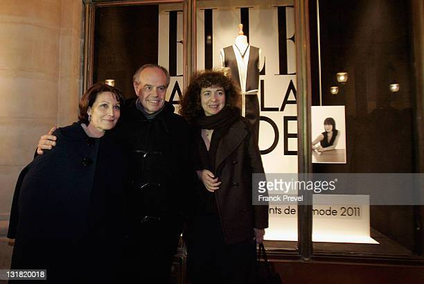 French Minister of Culture and Communication Frederic Mitterrand poses with Mediterranean Fashion Institute Chairwoman Marylin Bellieud Vigouroux and...