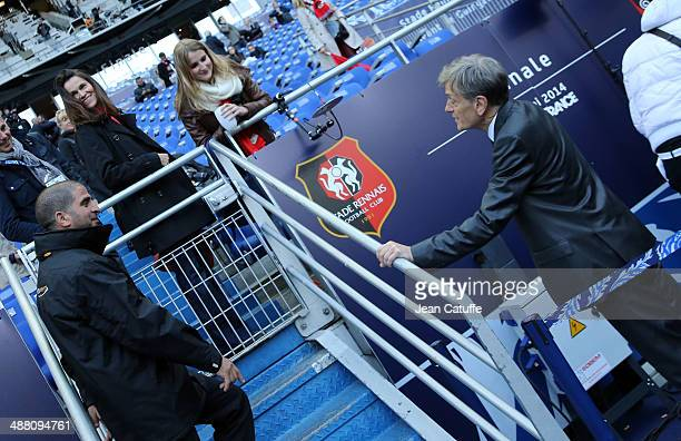 French Minister of Culture Aurelie Filippetti and her partner President of Stade Rennais Frederic de SaintSernin attend the French Cup Final between...