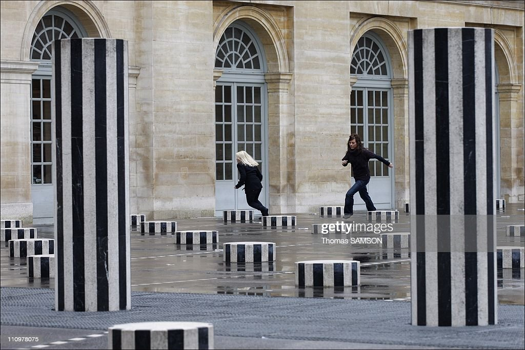 French minister of Culture Christine Albanel receives sculptor Daniel Buren in Paris, France on January 18th, 2008. : News Photo