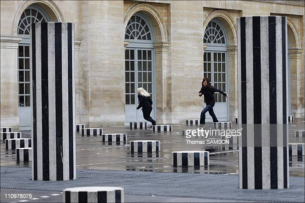 French minister of Culture Christine Albanel receives sculptor Daniel Buren in Paris France on January 18th 2008 The 'Buren's Columns' in the great...