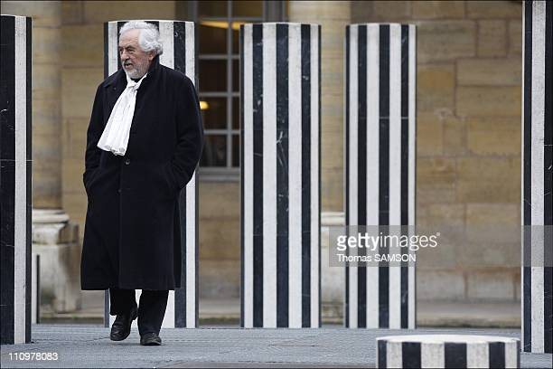 French minister of Culture Christine Albanel receives sculptor Daniel Buren in Paris France on January 18th 2008 French scpultor Daniel Buren in the...