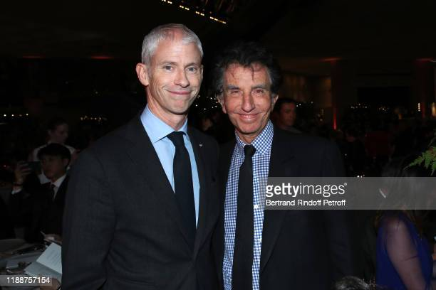 French Minister of Culture Franck Riester and Jack Lang attend the Grand Dinner of the Louvre on November 19, 2019 in Paris, France.