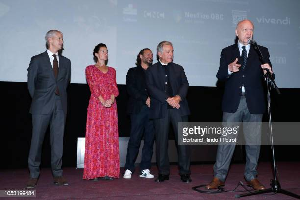 French Minister of Culture Franck Riester Anne Brochet Vincent Perez and President of Cinematheque Francaise Constantin CostaGavras listening...