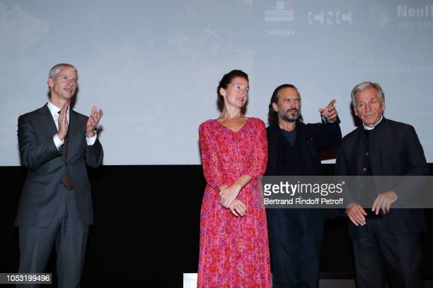 French Minister of Culture Franck Riester Anne Brochet Vincent Perez and President of Cinematheque Francaise Constantin CostaGavras attend the...