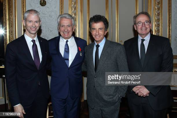 """French Minister of Culture Franck Riester, Gilbert Coullier, Jack Lang and Renaud Donnedieu de Vabres attend Gilbert Coullier Receives The """"Officer's..."""