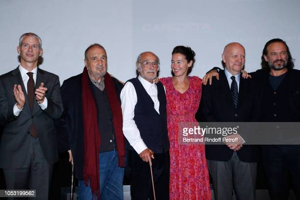 French Minister of Culture Franck Riester JeanClaude Carriere Pierre L'homme Anne Brochet JeanPaul Rappeneau and Vincent Perez attend the JeanPaul...
