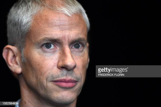 French minister of Culture Franck Riester looks on during his visit of the National Theater of Strasbourg in Strasbourg, eastern France, on October...