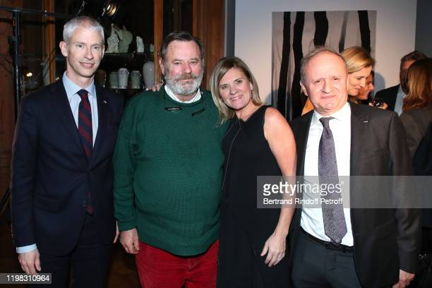 French Minister of Culture Franck Riester Louis Benech Valerie Maltaverne and Director of the Cite International de la Tapisserie in Aubusson...