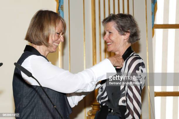 French Minister of Culture Francoise Nyssen and Madeline Fontaine decorated 'Chevalier des Arts et des Lettres' attend Decorations are given at...