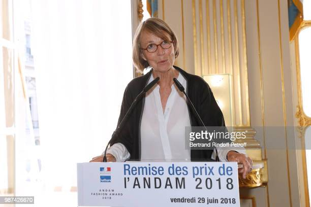 French Minister of Culture Francoise Nyssen presents the Andam Fashion Awards 2018 Ceremony at Ministere de la Culture on June 29 2018 in Paris France