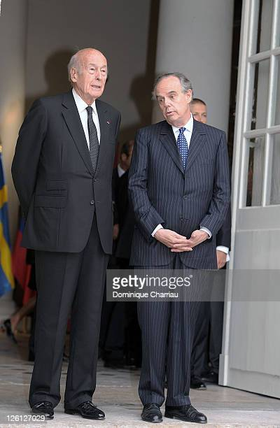 French Minister of Culture Frederic Mitterrand and Former French president Valery Giscard D'Estaing Attend 'Master Art' Exhibition Opening at Palais...