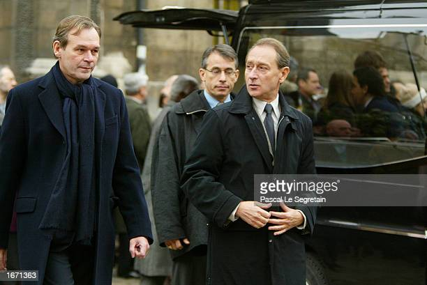 French Minister of Culture JeanJacques Aillagon and Socialist Mayor of Paris Bertrand Delanoe attend the funeral services for French actor Daniel...