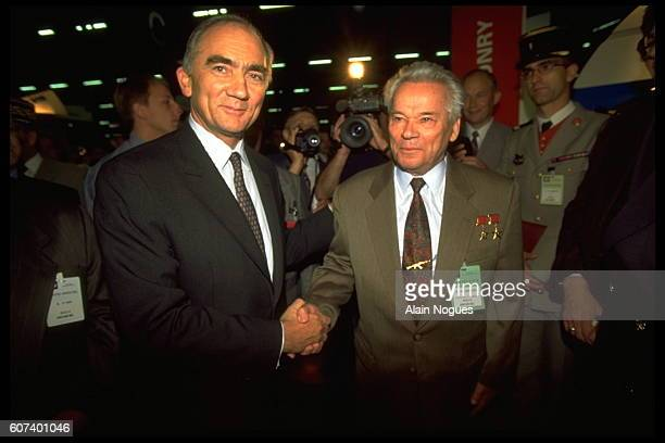 French Minister of Defence Charles Millon with Russian Lieutenant General Mikhail Kalashnikov most famous for designing the AK47 assault rifle the...