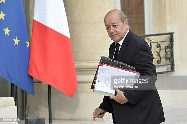 French Minister of Defence JeanYves Le Drian arrives at Elysee Palace for a security council with French President Francois Hollande following...