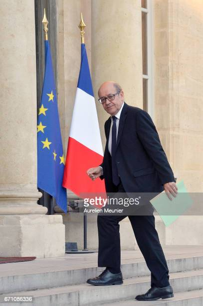 French Minister of Defense Jean Yves Le Drian arrives at Elysee Palace for a defense councilon April 21 2017 in Paris France One police officer has...