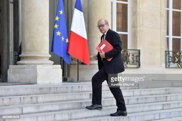 French Minister of Defense JeanYves Le Drian arrives for a special defense council at Elysee Palace on April 7 2017 in Paris France The meeting will...