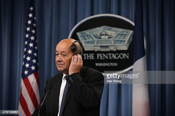 French Minister of Defense JeanYves Le Drian participates in a joint news conference at the Pentagon July 6 2015 in Arlington Virginia Le Drian...