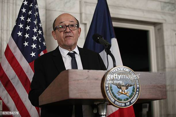 French Minister of Defense JeanYves Le Drian speaks as he makes a statement with US Secretary of Defense Ashton Carter prior to their fourth meeting...