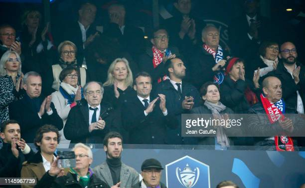 French Minister of Ecology François de Rugy President of French Football Federation Noel Le Graet President of France Emmanuel Macron French Minister...