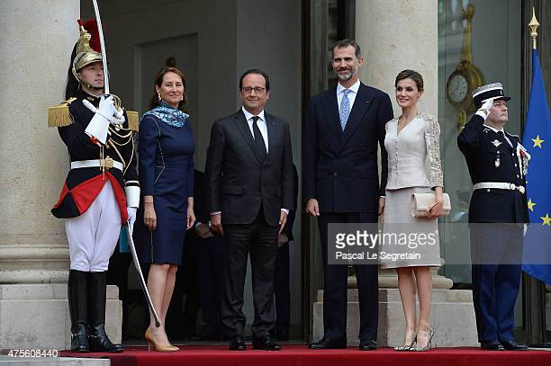 French Minister of Ecology Segolene Royal and French President Francois Hollande pose with King Felipe VI of Spain and Queen Letizia of Spain in the...