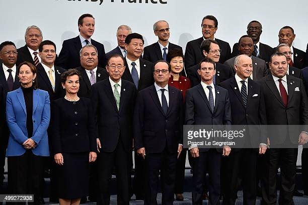 French Minister of Ecology Sustainable Development and Energy Segolene Royal Christiana Figueres UN Genreral secratary BanKi Moon French President...
