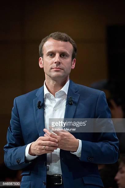 French Minister of Economic Emmanuel Macron addresses an estimated 3000 people during the 'En Marche' political party meeting at Theatre de la...