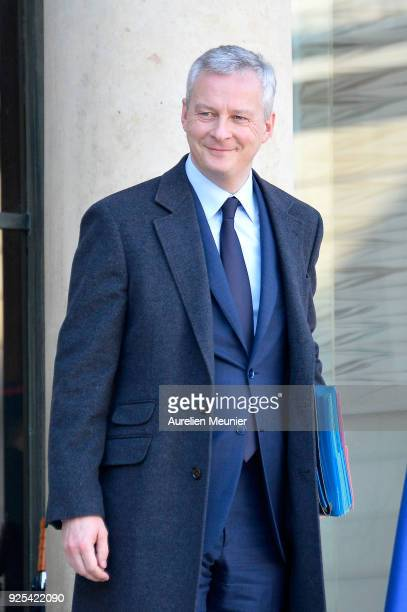 French Minister of Economics Bruno Le Maire leaves the Elysee Palace after the weekly cabinet meeting on February 28 2018 in Paris France