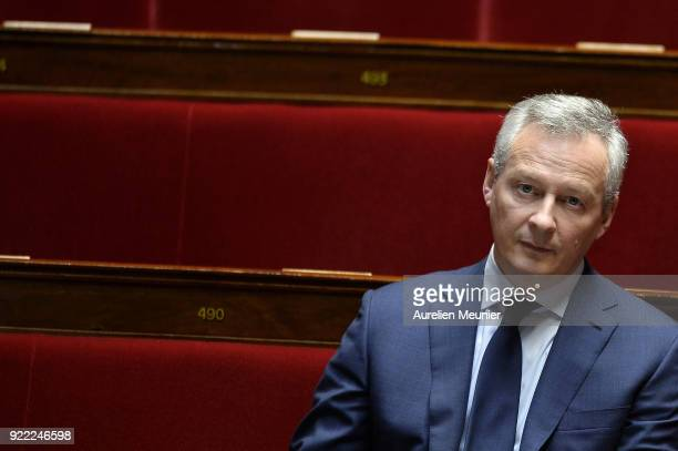 French Minister of Economics Bruno Le Maire reacts as he arrives for a session of questions to the government at Assemblee Nationale on February 21...