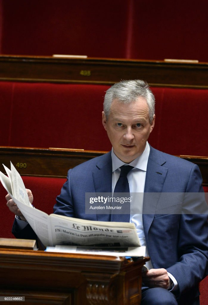 French Minister of Economics Bruno Le Maire reacts as he arrives for a session of questions to the government at Assemblee Nationale on February 21, 2018 in Paris, France.