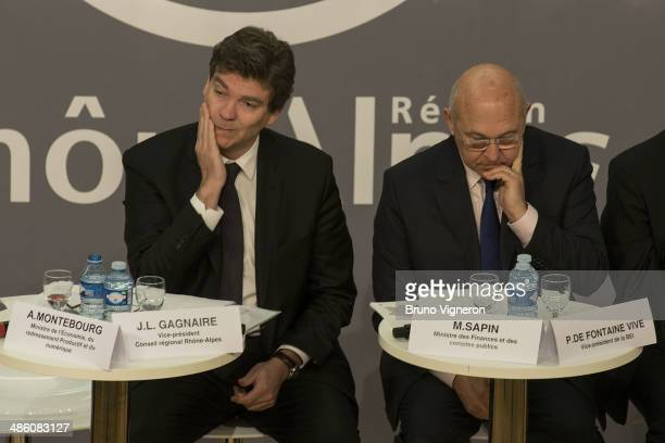 French Minister of Economy and Economic Recovery Arnaud Montebourg and French Minister of Labour Michel Sapin attend the European meeting for...