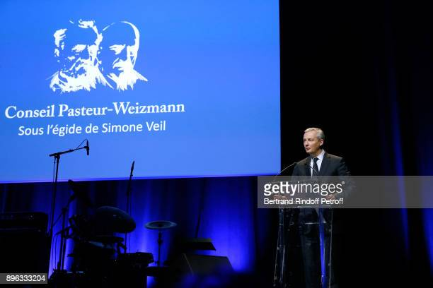 French Minister of Economy and Finance Bruno Le Maire pays tribute to Simone Veil during the Gala evening of the PasteurWeizmann Council in Tribute...