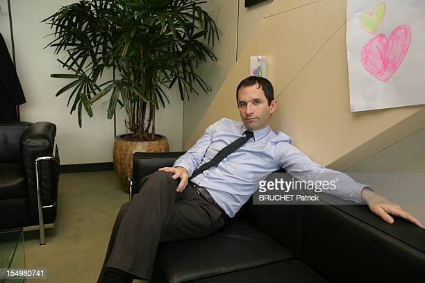 French minister of Economy Benoit Hamon is photographed for Paris Match inside his minister's office in Bercy on October 11 2012 in Paris France