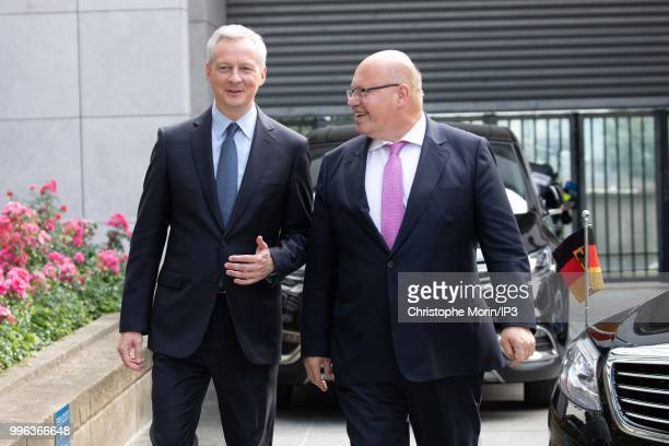 French Minister of economy Bruno Le Maire and the German Economy Minister Peter Altmaier attend a joint meeting on July 11 2018 in Paris France The...