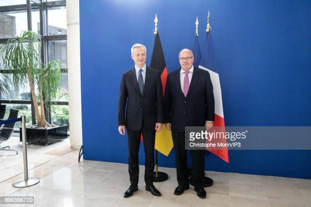 French Minister of economy Bruno Le Maire and the German Economy Minister Peter Altmaier attend a joint meeting with on July 11 2018 in Paris France...