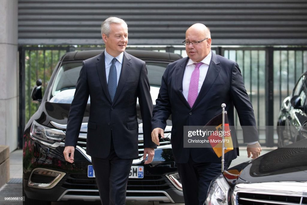 French Minister of economy, Bruno Le Maire (L) and the German Economy Minister Peter Altmaier (R) attend a joint meeting on July 11, 2018 in Paris, France. The German minister is in Paris on Wednesday to support the Airbus artificial intelligence project.