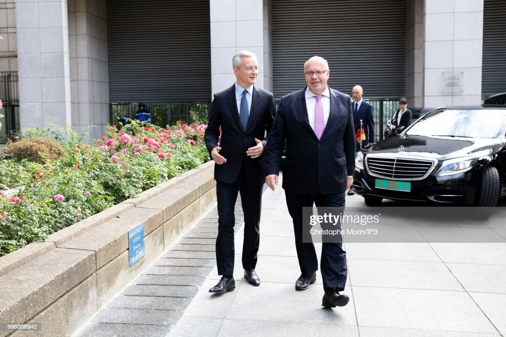 French Minister of economy, Bruno Le Maire (L) and the German Economy Minister Peter Altmaier (R) attend a joint meeting with on July 11, 2018 in Paris, France. The German minister is in Paris on Wednesday to support the Airbus artificial intelligence project.