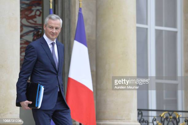 French Minister of Economy Bruno Le Maire leaves the Elysee Palace after the weekly cabinet meeting on December 5 2018 in Paris France