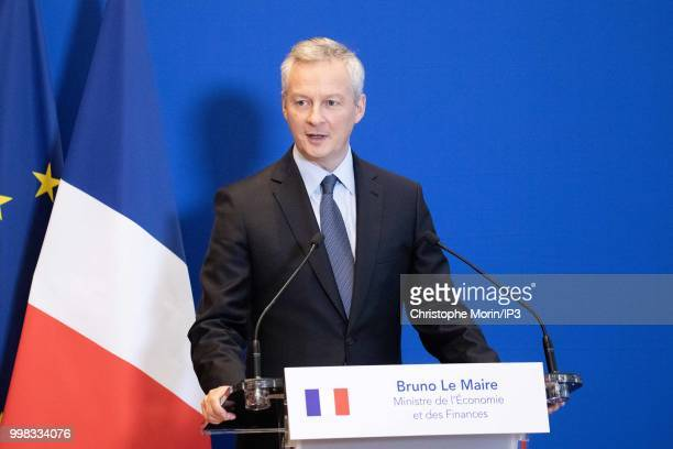 French Minister of economy Bruno Le Maire speaks during a joint press conference on July 11 2018 in Paris France The German minister is in Paris on...