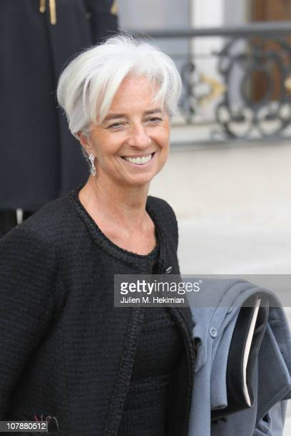 French Minister of Economy Finance and Industry Christine Lagarde leaves the first weekly cabinet meeting of the new year on January 5 2011 in Paris...